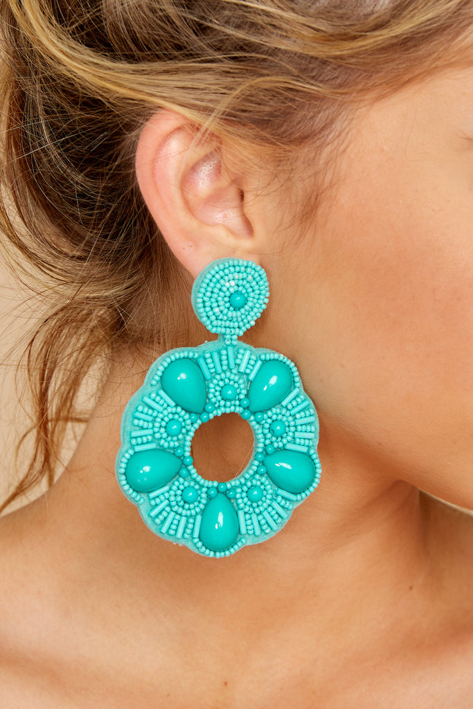 1 Know Yourself Turquoise Statement Earrings at reddressboutique.com