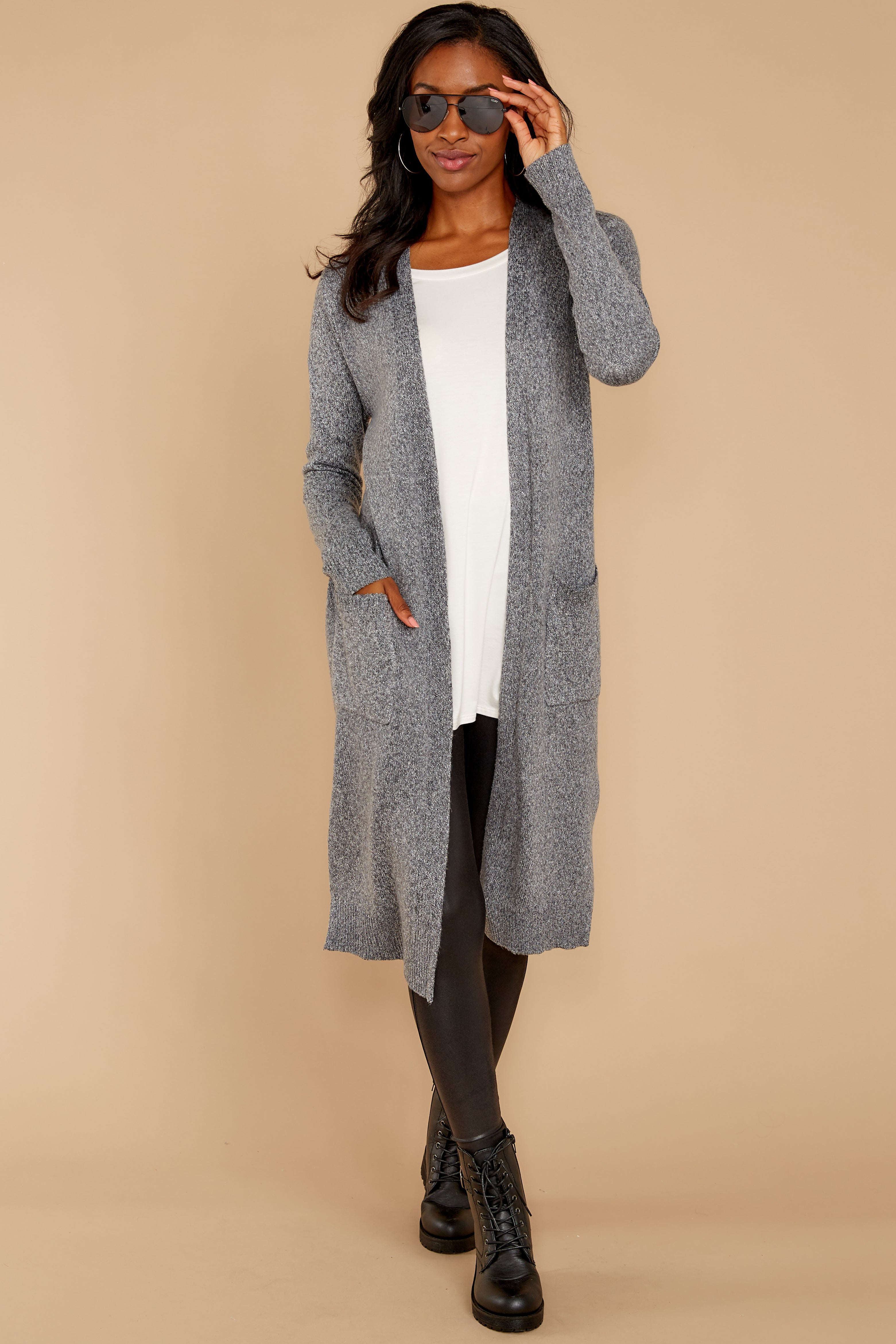 3 Holding Hands Grey Cardigan at reddressboutique.com
