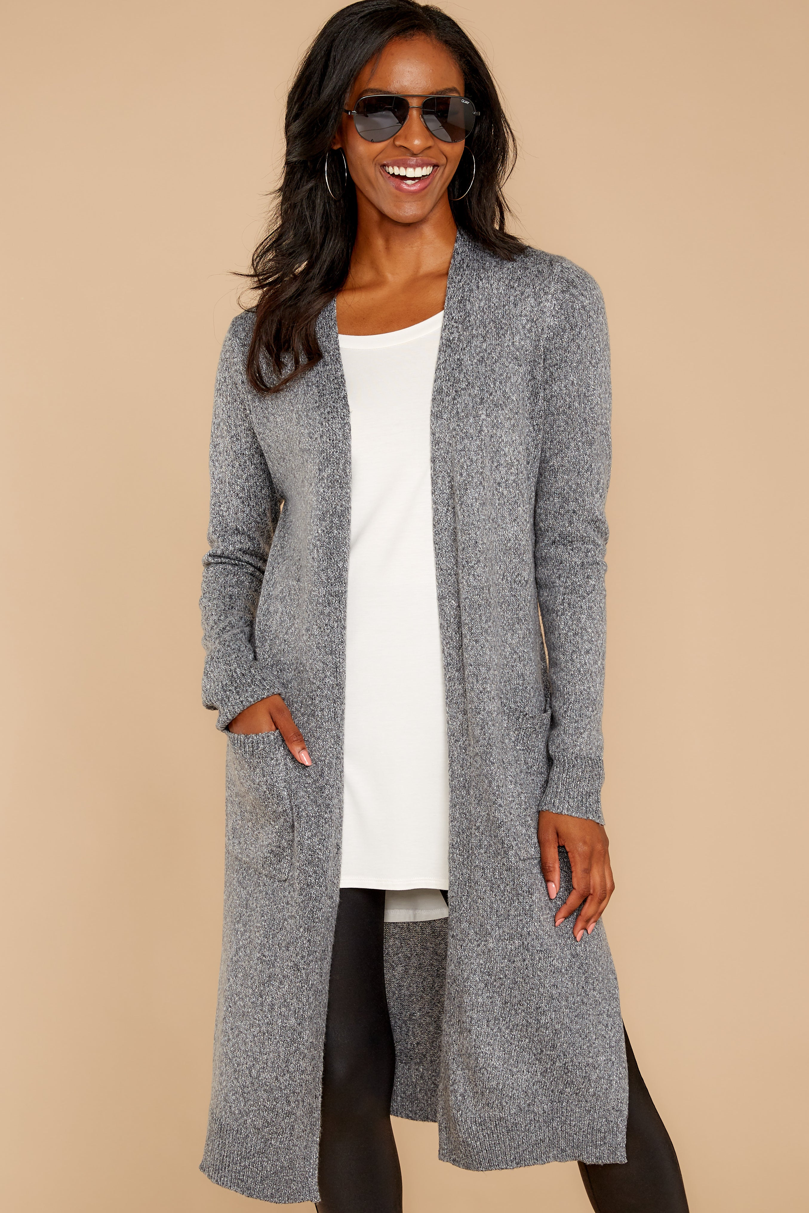 6 Holding Hands Grey Cardigan at reddressboutique.com