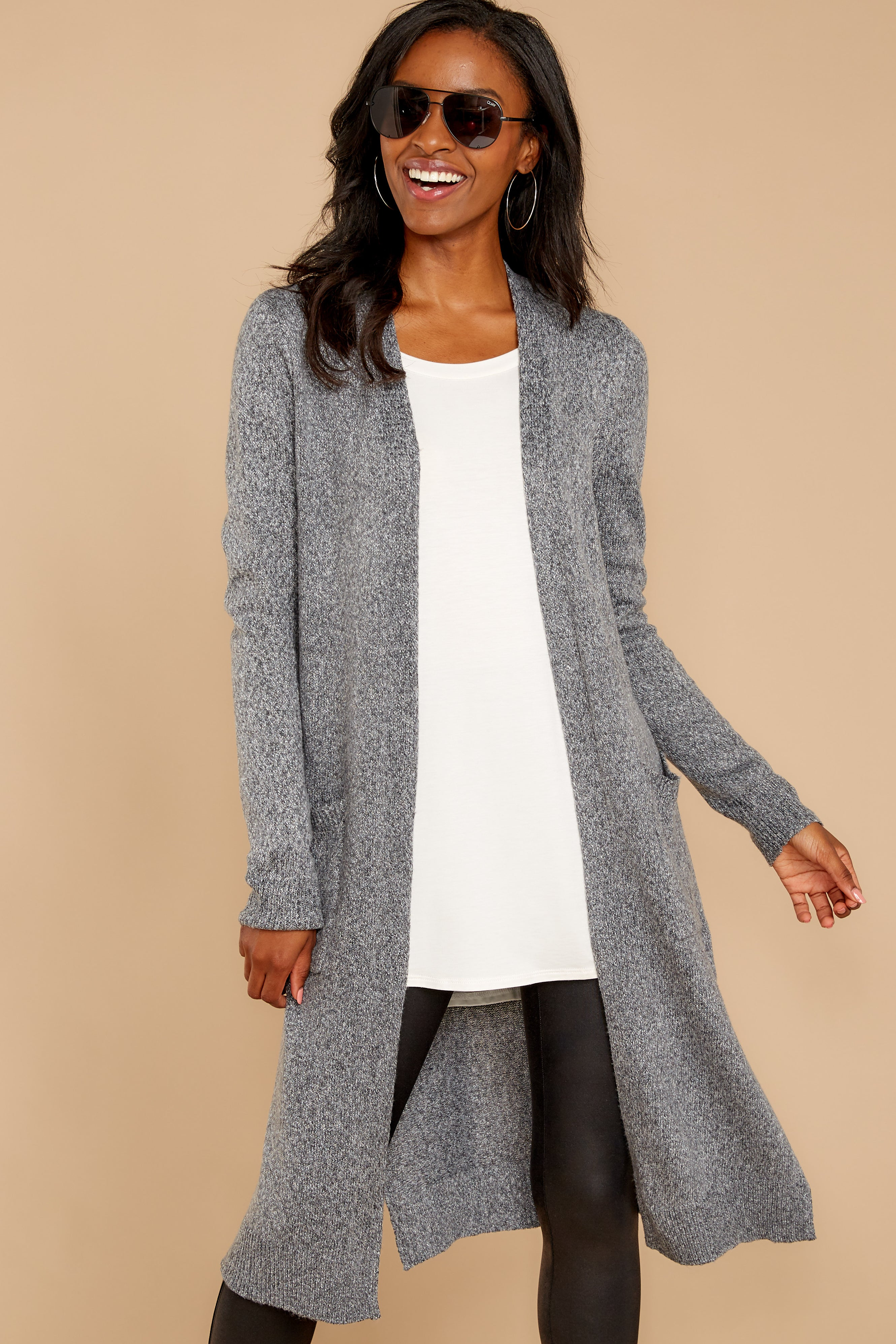 7 Holding Hands Grey Cardigan at reddressboutique.com