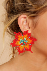 1 It's Only Love Red Multi Statement Earrings at reddressboutique.com