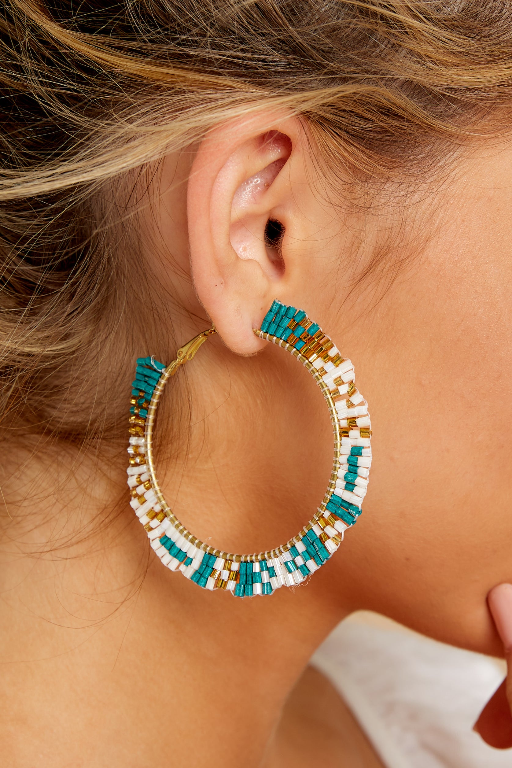 1 Intently Listening Teal Multi Beaded Earrings at reddressboutique.com