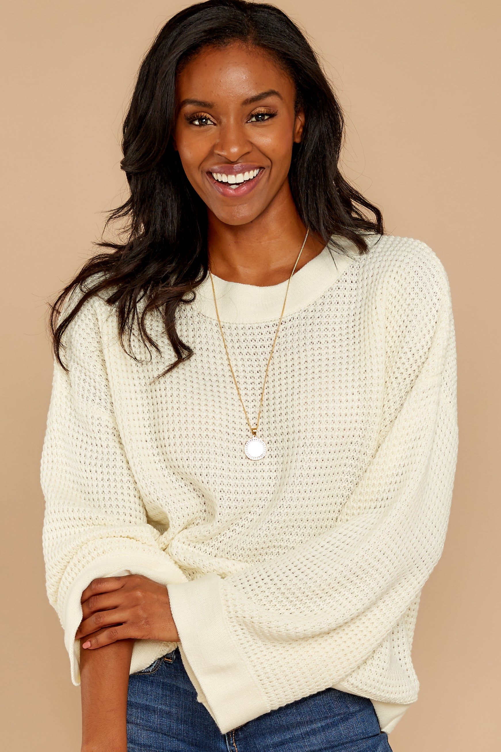 4 Cool Nights Ivory Sweater at reddressboutique.com