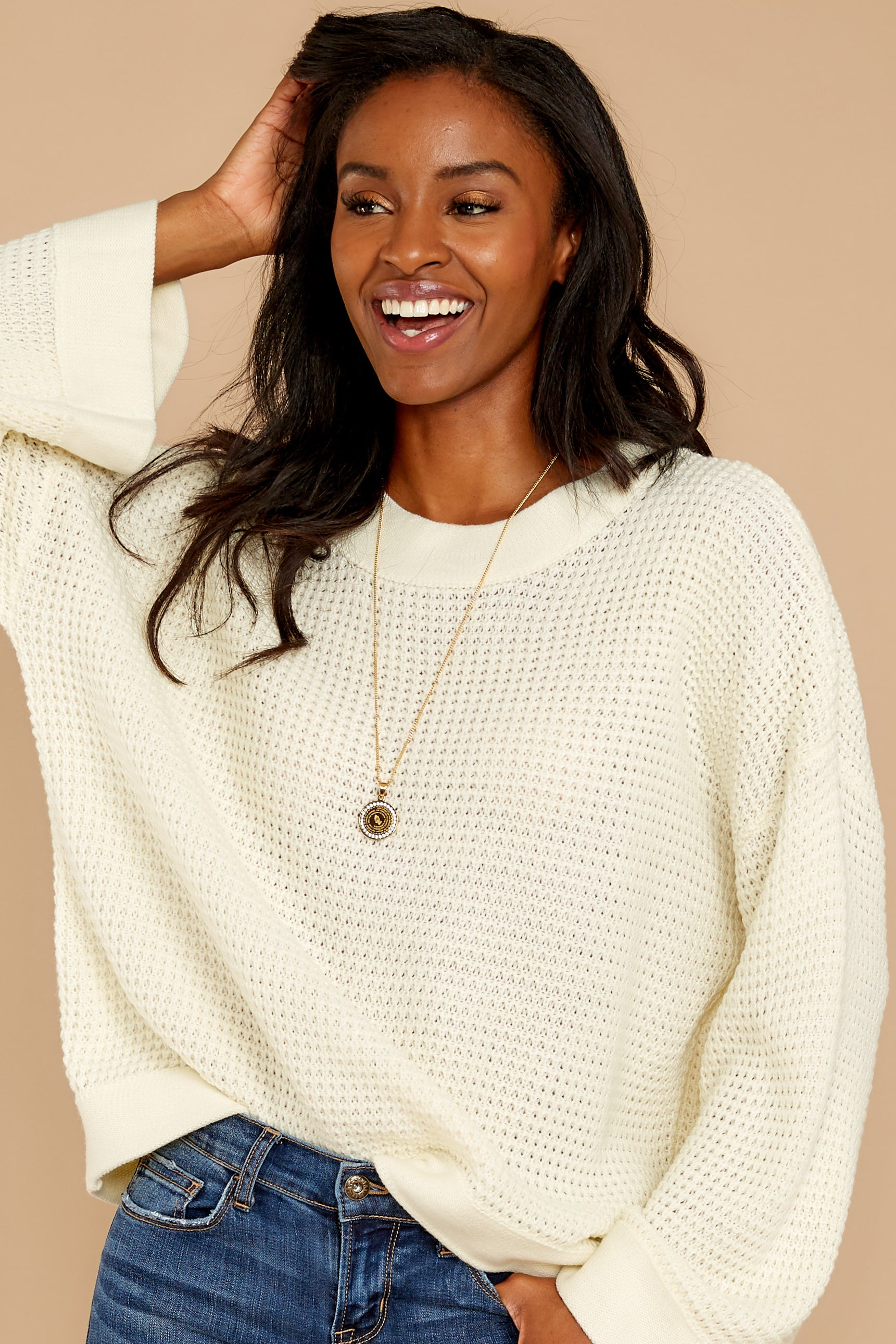 6 Cool Nights Ivory Sweater at reddressboutique.com