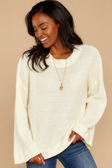 8 Cool Nights Ivory Sweater at reddressboutique.com