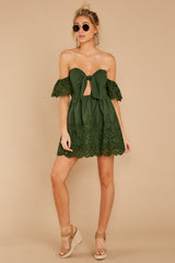 2 Dangerous Darling Rosin Green Eyelet Dress at reddressboutique.com