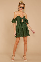 3 Dangerous Darling Rosin Green Eyelet Dress at reddressboutique.com