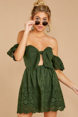 5 Dangerous Darling Rosin Green Eyelet Dress at reddressboutique.com