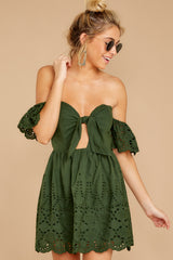 6 Dangerous Darling Rosin Green Eyelet Dress at reddressboutique.com