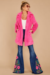 2 Show Off Neon Pink Coat at reddressboutique.com