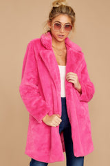 7 Show Off Neon Pink Coat at reddressboutique.com