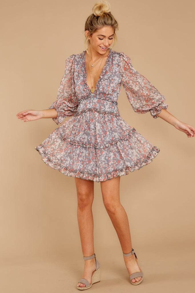 Make It A Date Night Grey Floral Print Dress by One And Only Collective