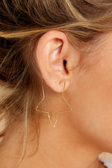 1 Starstruck Gold Hoop Earrings at reddressboutique.com