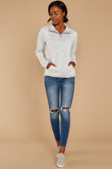 1 Weekend Getaway Heather Ivory Pullover at reddressboutique.com