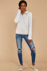 3 Weekend Getaway Heather Ivory Pullover at reddressboutique.com