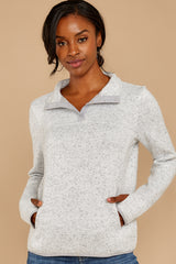 5 Weekend Getaway Heather Ivory Pullover at reddressboutique.com