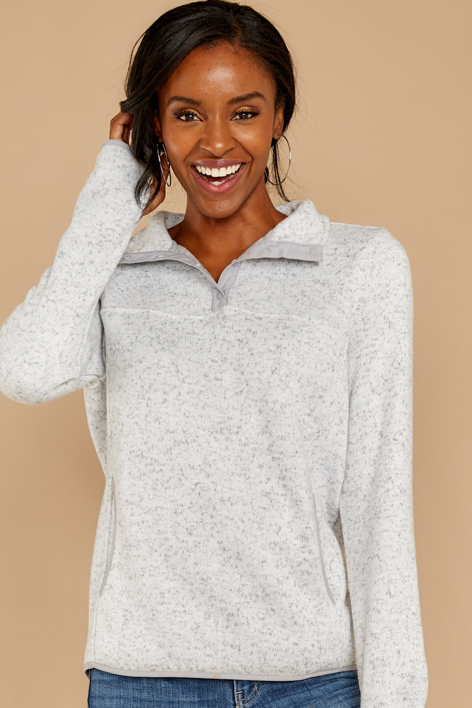 1 Escape To Comfort Heather Grey Pullover at reddressboutique.com