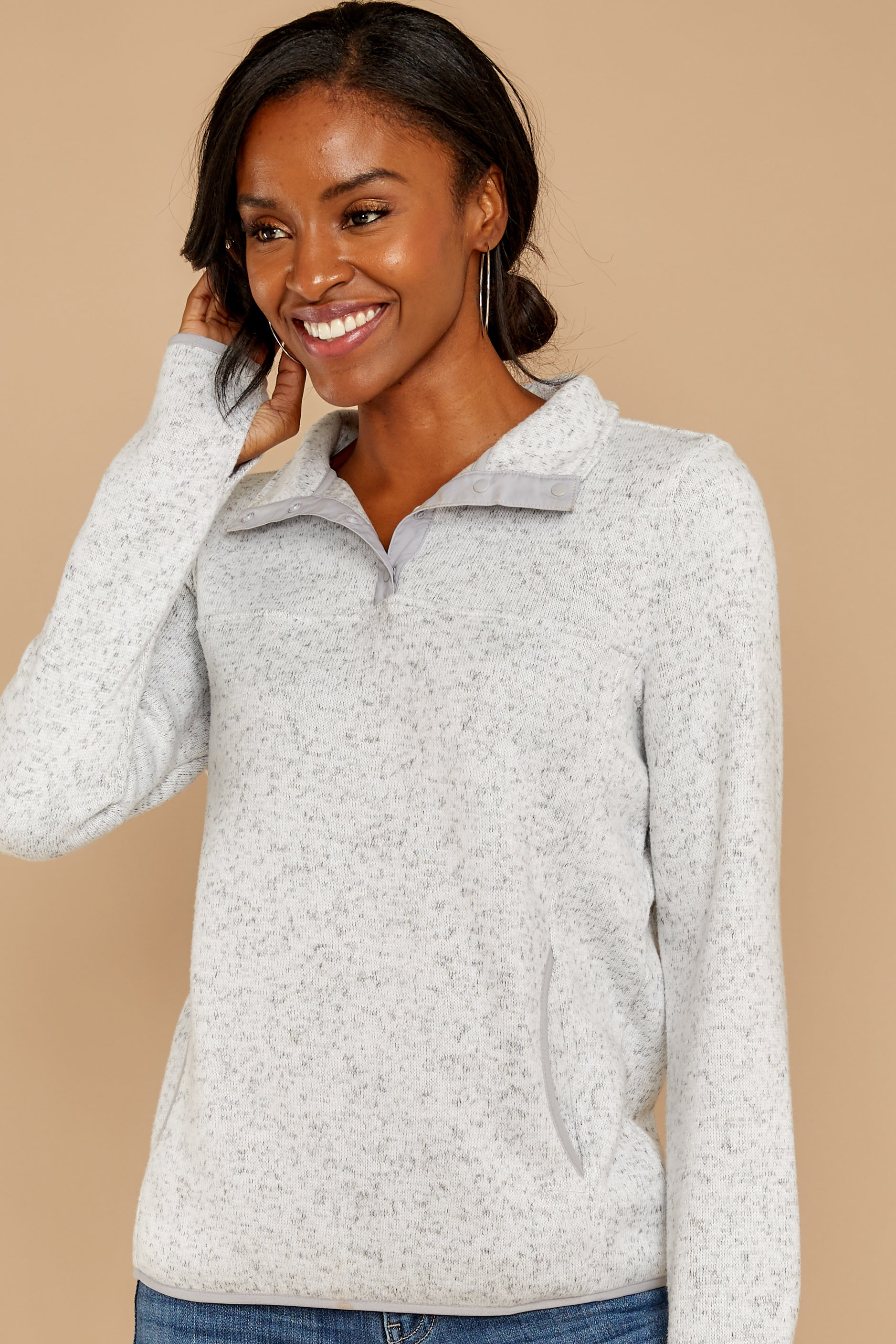 4 Weekend Getaway Heather Ivory Pullover at reddressboutique.com