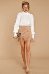 6 Legendary Fringe Beige Vegan Suede Skirt at reddressboutique.com