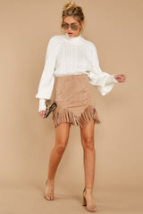 5 Legendary Fringe Beige Vegan Suede Skirt at reddressboutique.com