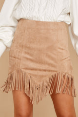 2 Legendary Fringe Beige Vegan Suede Skirt at reddressboutique.com