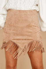 1 Legendary Fringe Beige Vegan Suede Skirt at reddressboutique.com