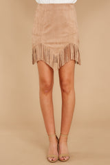 3 Legendary Fringe Beige Vegan Suede Skirt at reddressboutique.com