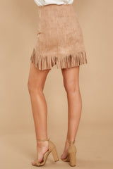 4 Legendary Fringe Beige Vegan Suede Skirt at reddressboutique.com