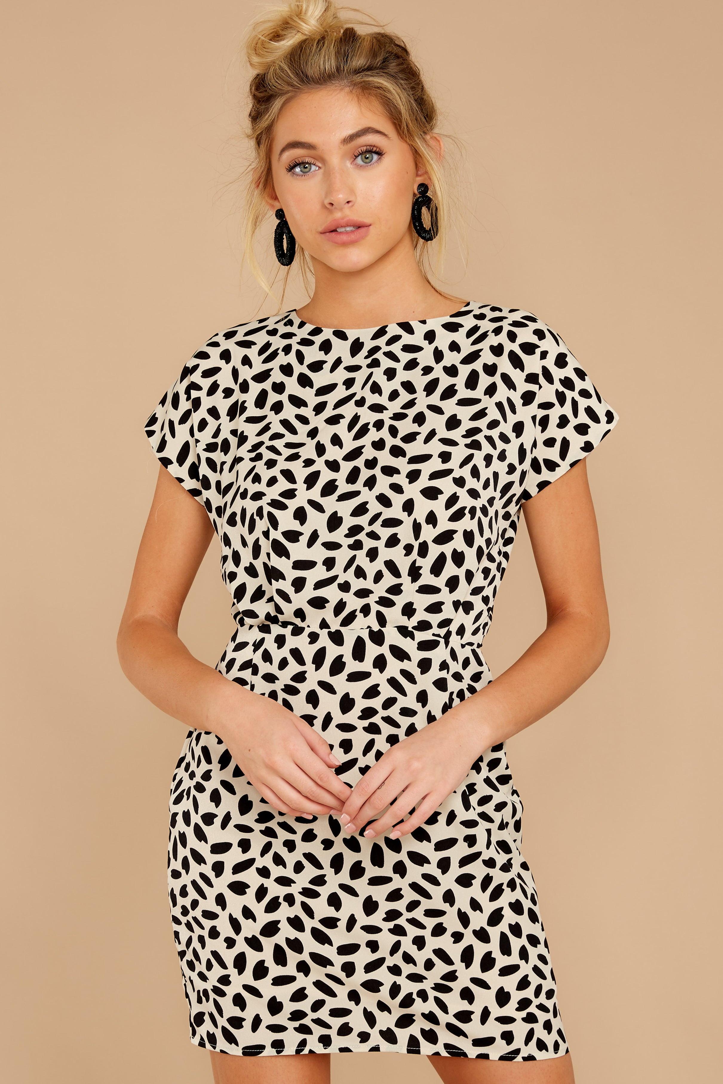 4 Never Lonely Ivory Print Dress at reddressboutique.com