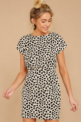 5 Never Lonely Ivory Print Dress at reddress.com