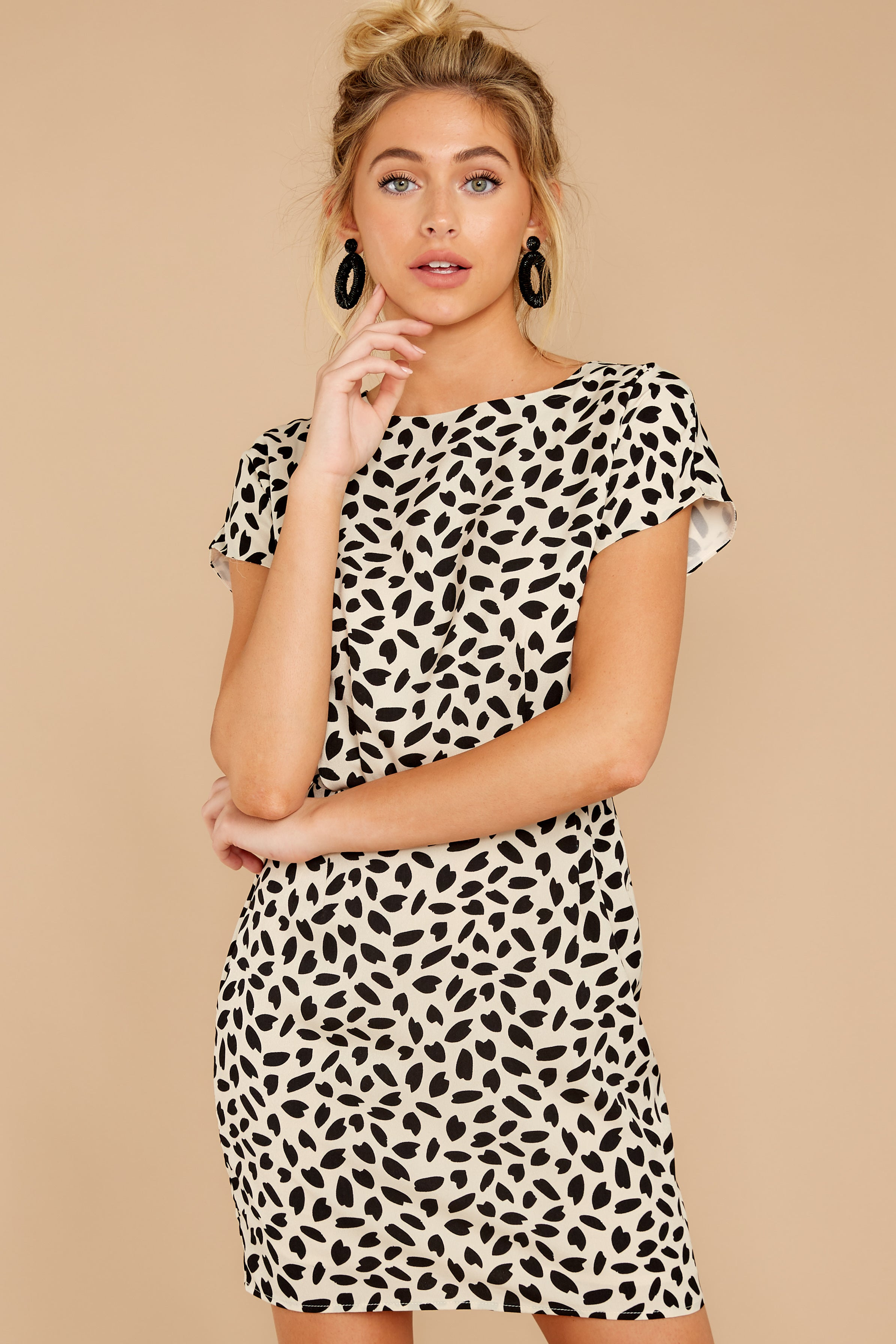 6 Never Lonely Ivory Print Dress at reddressboutique.com