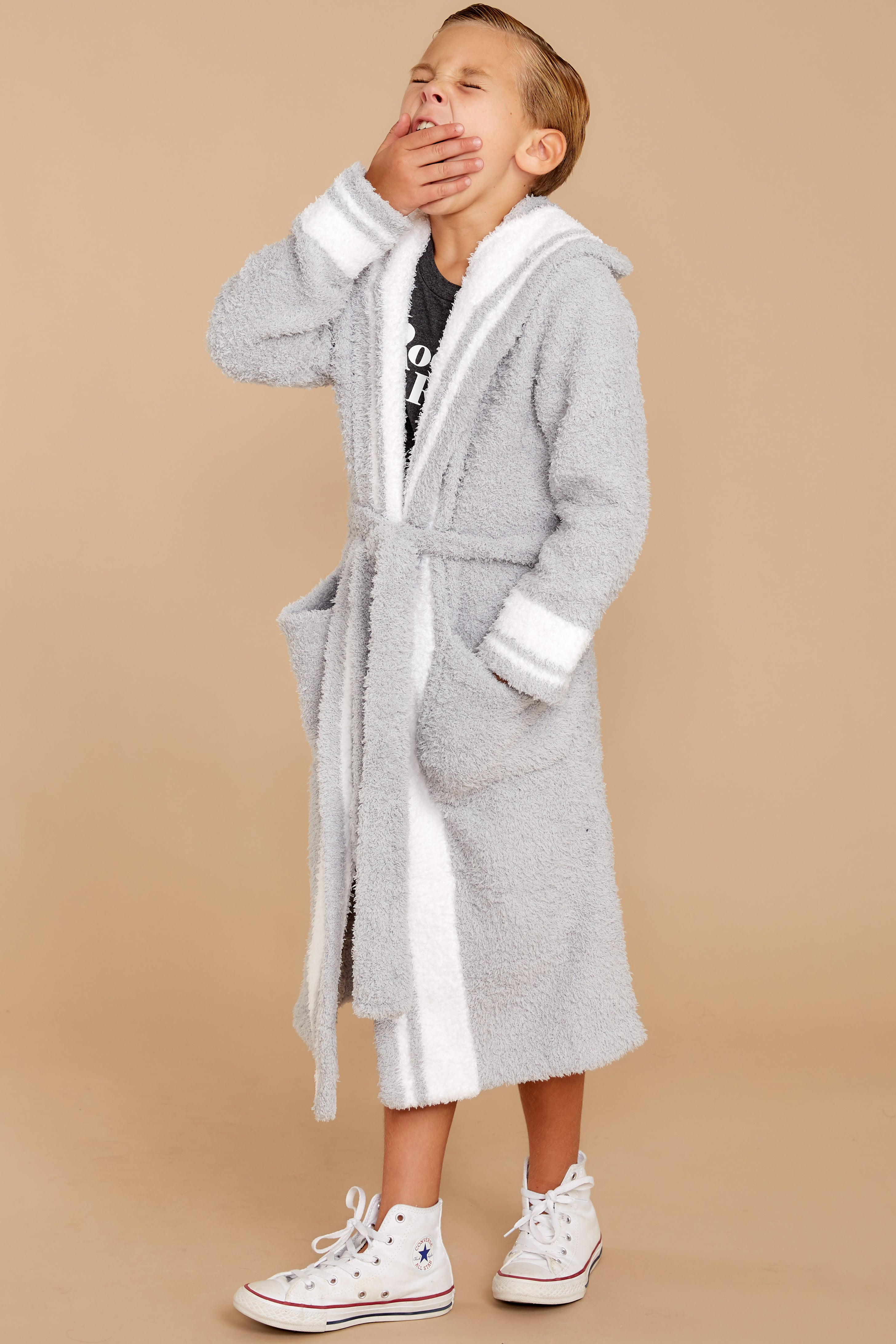 1 CozyChic® Ocean White Youth Striped Robe at reddressboutique.com