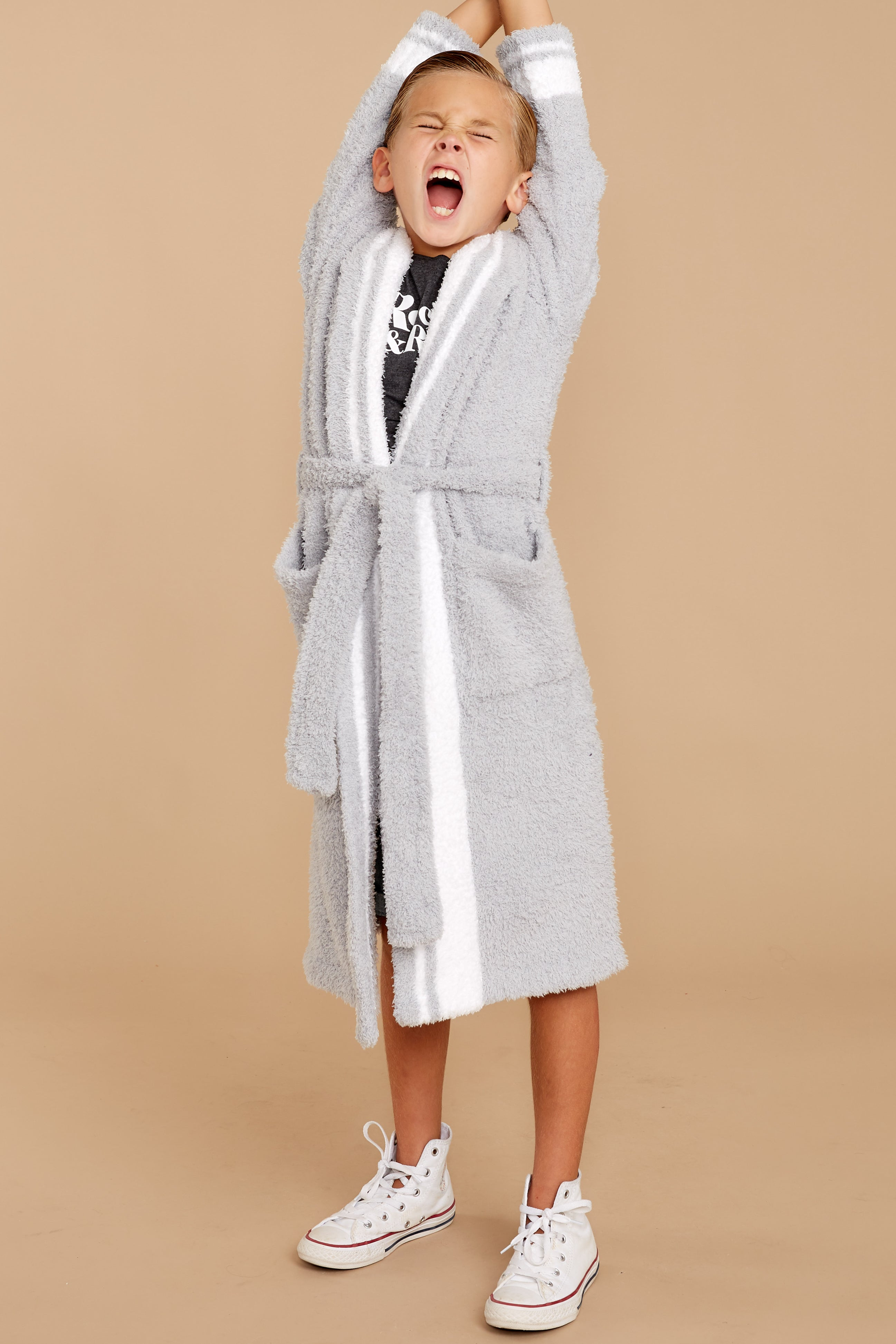 2 CozyChic® Ocean White Youth Striped Robe at reddressboutique.com