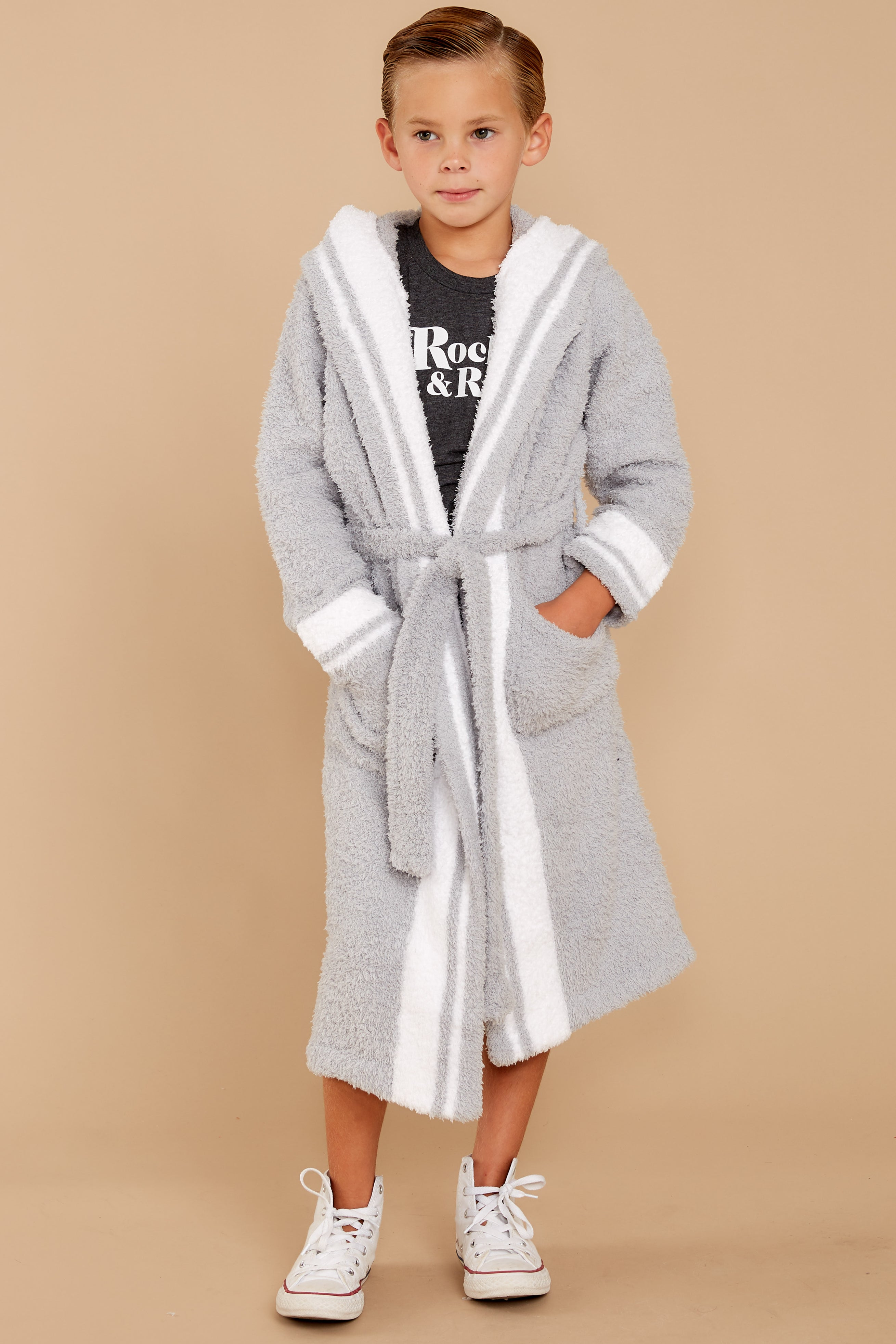 3 CozyChic® Ocean White Youth Striped Robe at reddressboutique.com