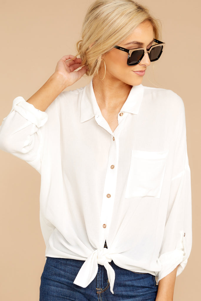 1 Make A Deal White Button Up Top at reddressboutique.com