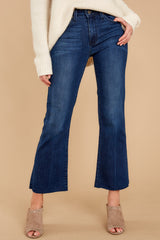 What A Time Dark Wash Cropped Flare Jeans at reddressboutique.com