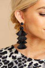 2 Tier And Now Black Tassel Earrings at reddressboutique.com