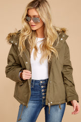 Let's Talk About It Olive Green Jacket at reddressboutique.com