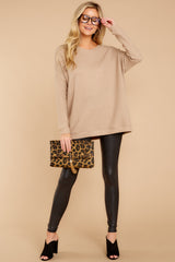 3 Down The Road Taupe Top at reddress.com