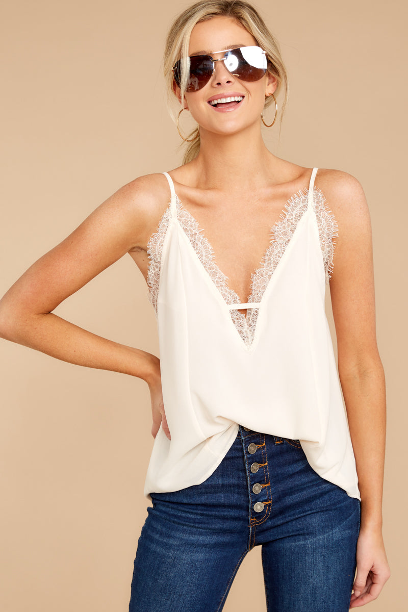 1 Lace To Meet You Cream Tank Top at reddressboutique.com