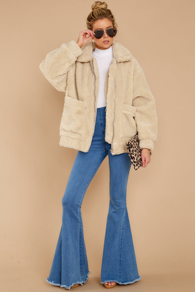 2 Just What You Think Beige Faux Fur Coat at reddressboutique.com