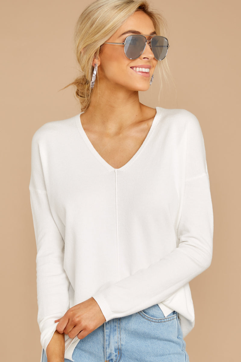 3 Give It A Rest White Sweater at reddress.com