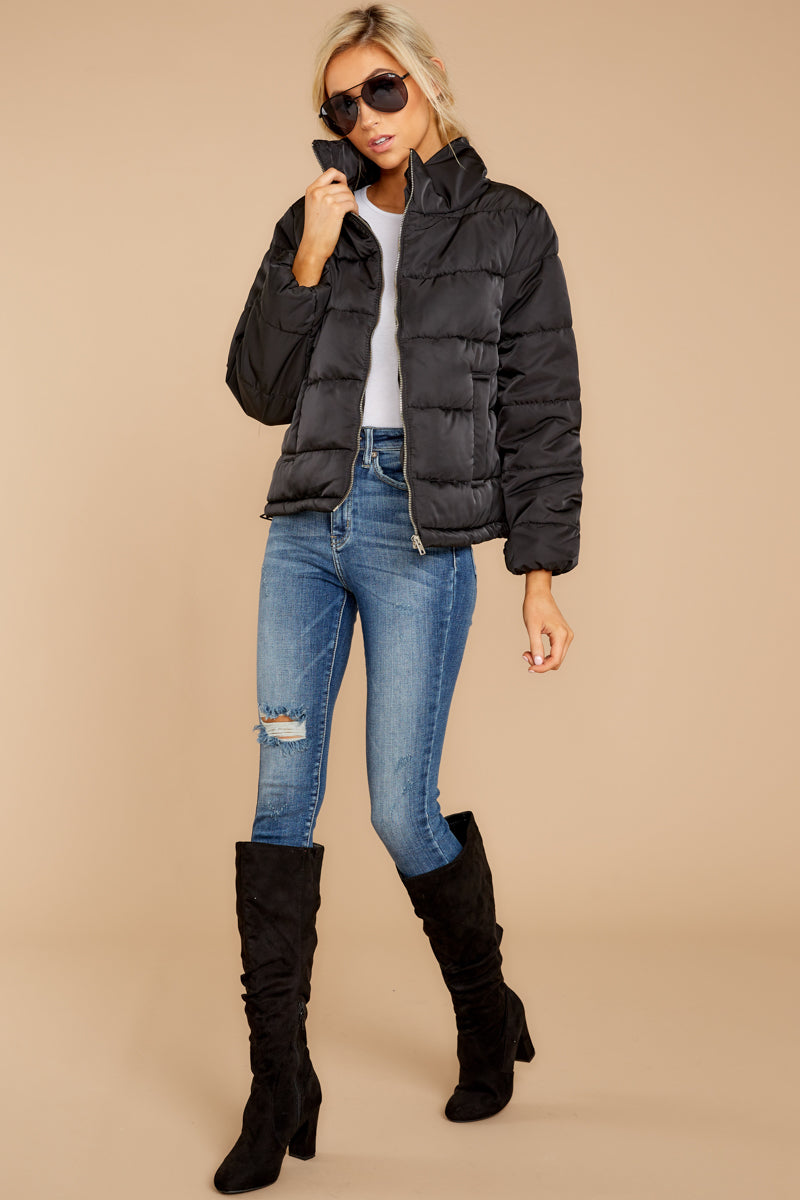 Puff Love Black Quilted Jacket at reddressboutique.com