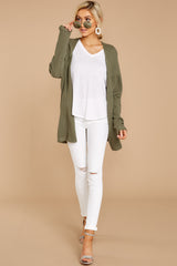 1 You'll Be Mine Moss Green Knit Cardigan at reddressboutique.com