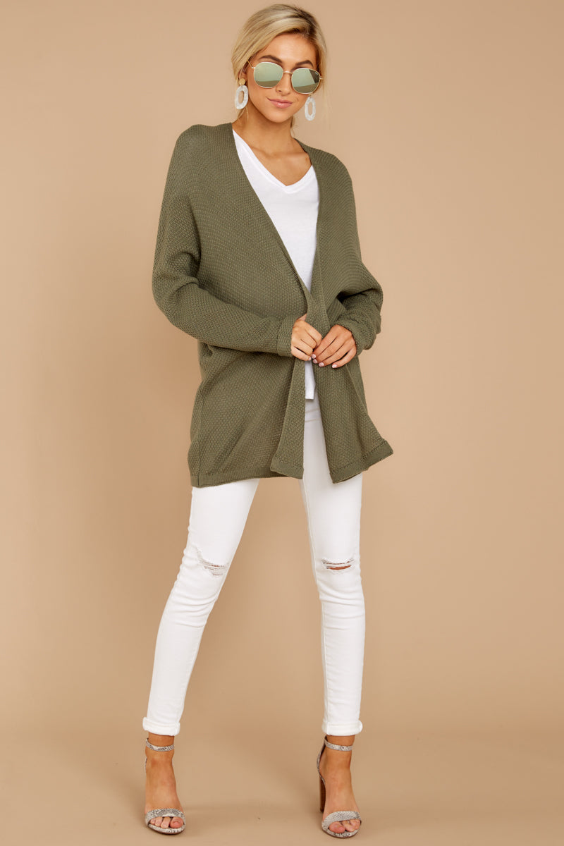 2 You'll Be Mine Moss Green Knit Cardigan at reddressboutique.com