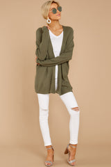 3 You'll Be Mine Moss Green Knit Cardigan at reddressboutique.com