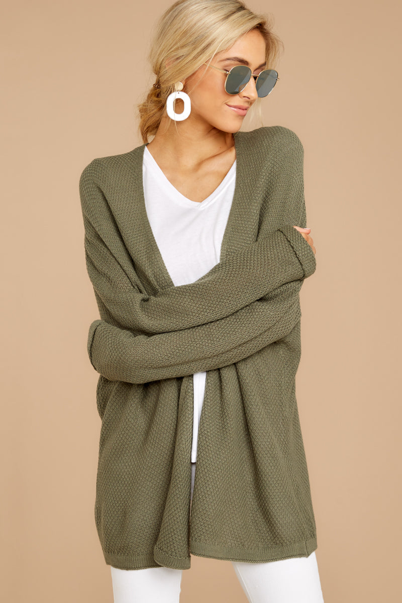 4 You'll Be Mine Moss Green Knit Cardigan at reddressboutique.com