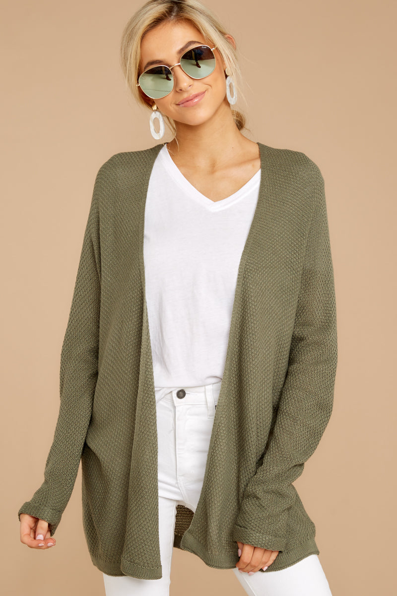 5 You'll Be Mine Moss Green Knit Cardigan at reddressboutique.com