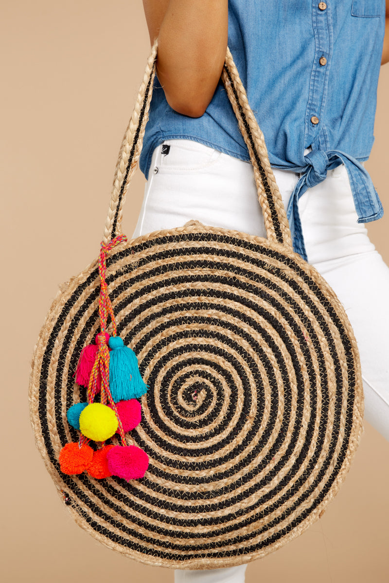 1 For Real Tan And Black Woven Round Bag at reddressboutique.com