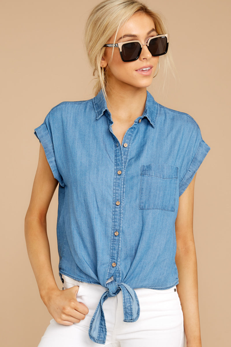 Won't Be Tied Down Chambray Button Up Top